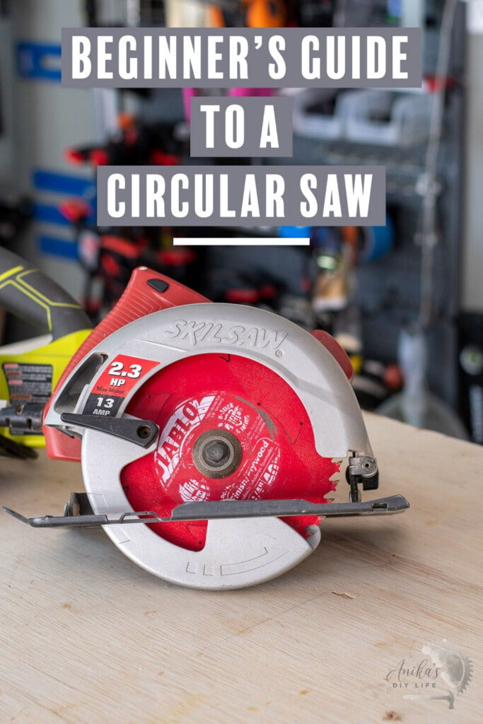 Circular saw on workbench with text overlay