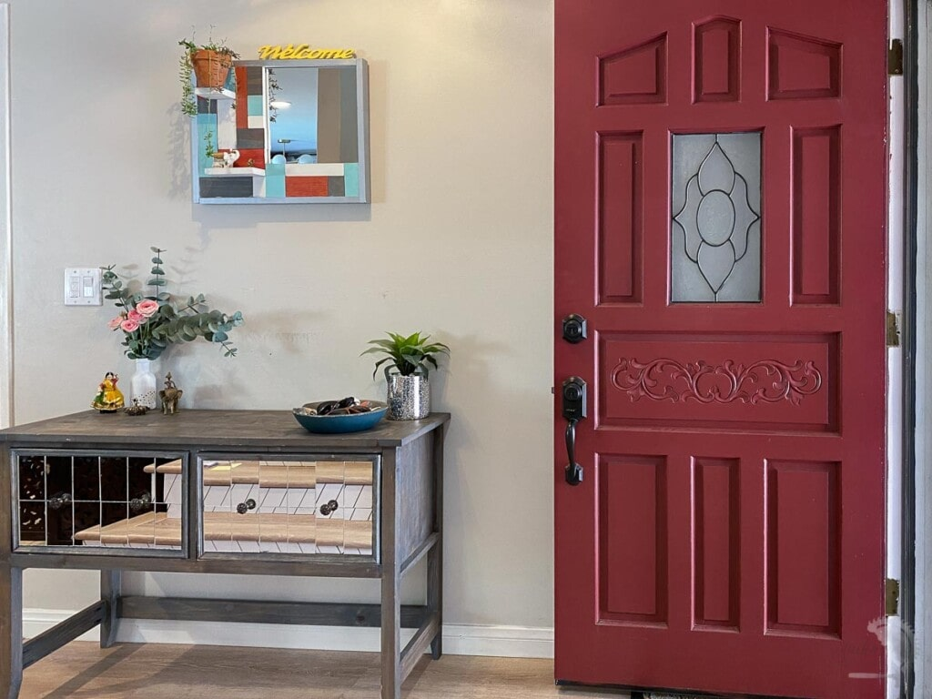 Entryway before a DIY cement feature wall