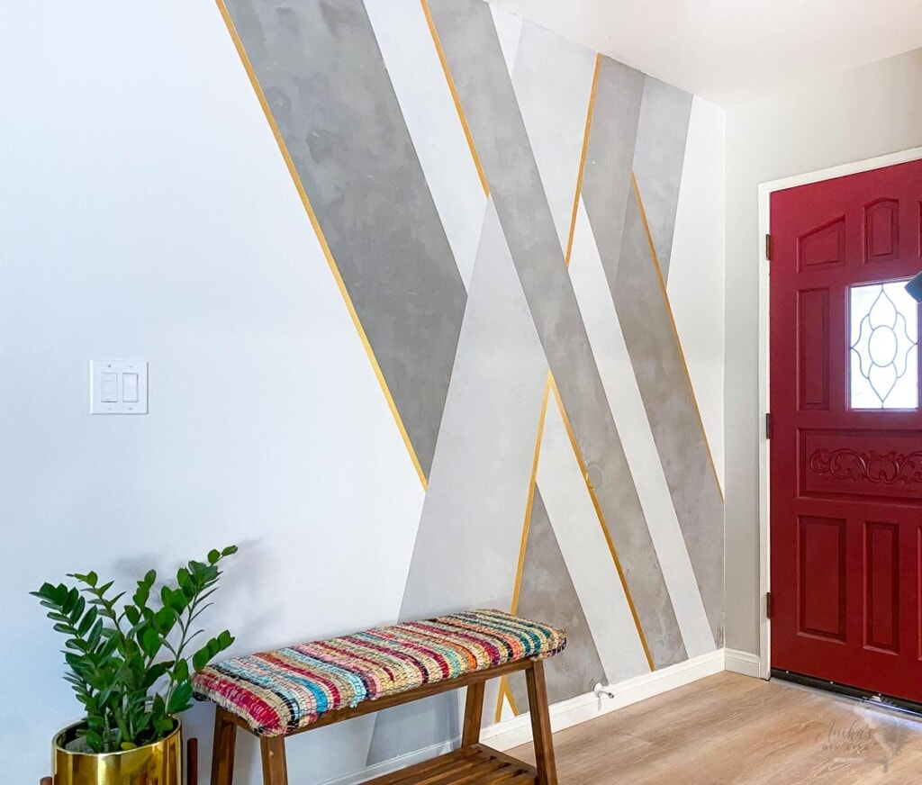 DIY cement feature wall in an entryway