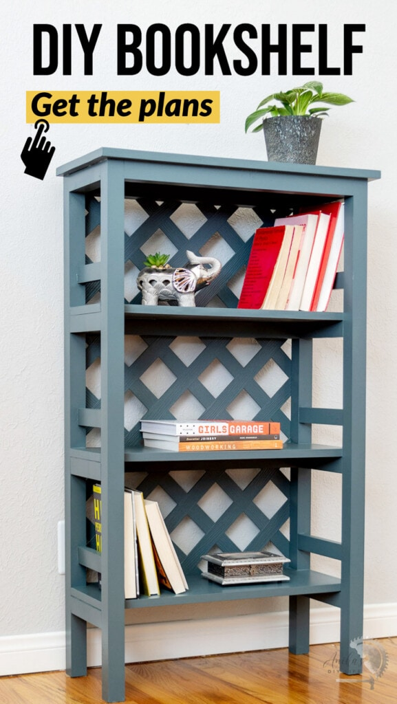 Blue-gray DIY trellis bookshelf with books and plant on it with text overlay
