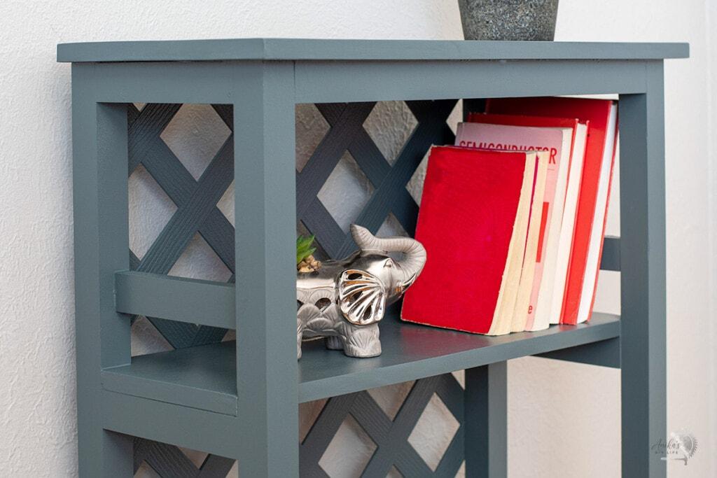 close up of the diy trellis bookshelf