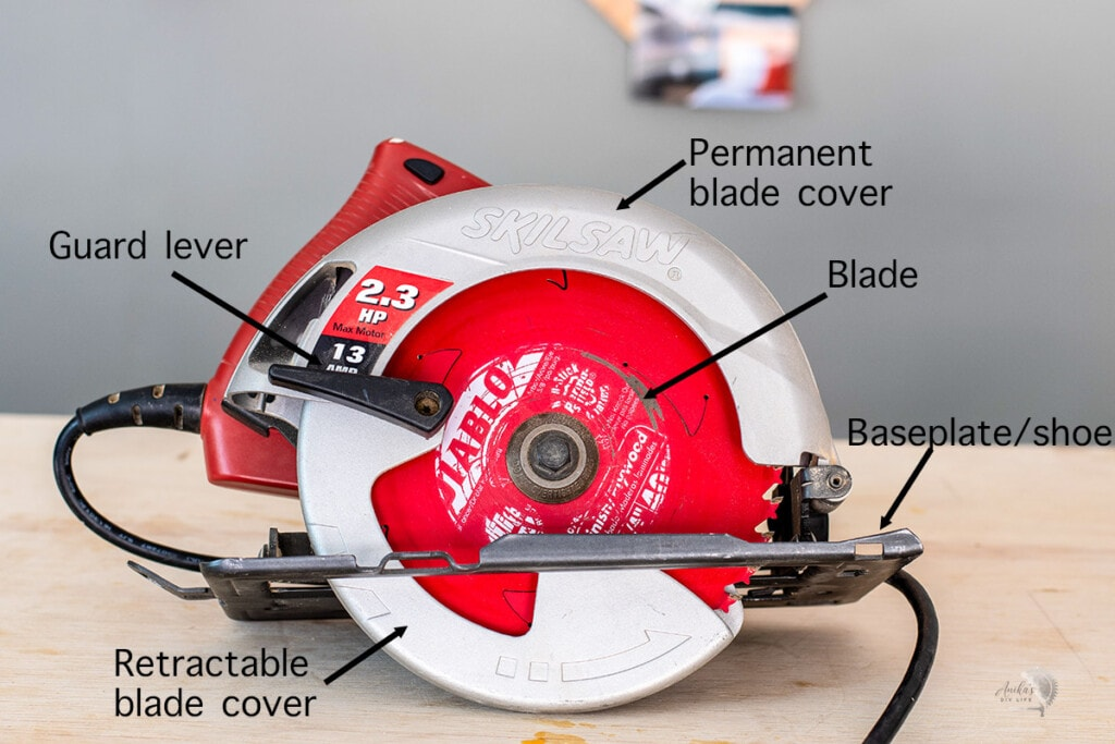 front of the circular saw with parts labeled