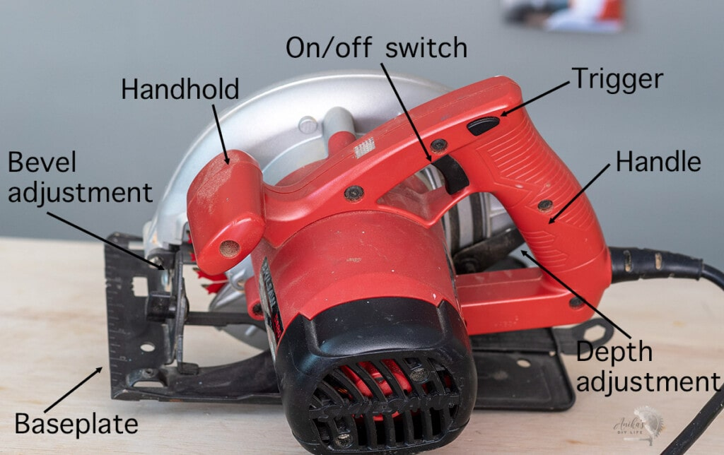 Back of circular saw on workbench with parts labeled