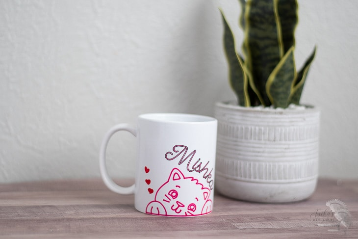 Mug made with infusible ink on a table