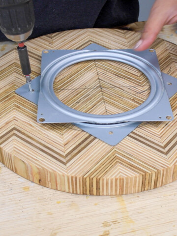 Learn how to easily install Lazy Susan hardware with this detailed step-by-step tutorial to make a Lazy Susan turntable.