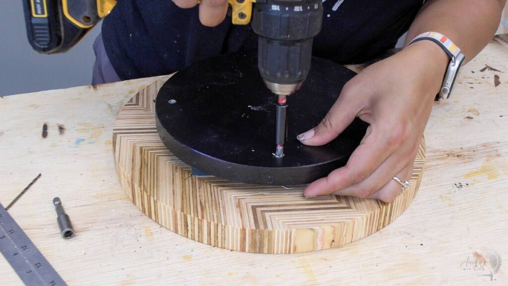 attaching the lazy susan bottom to the hardware