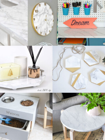 image collage of marble contact paper project ideas