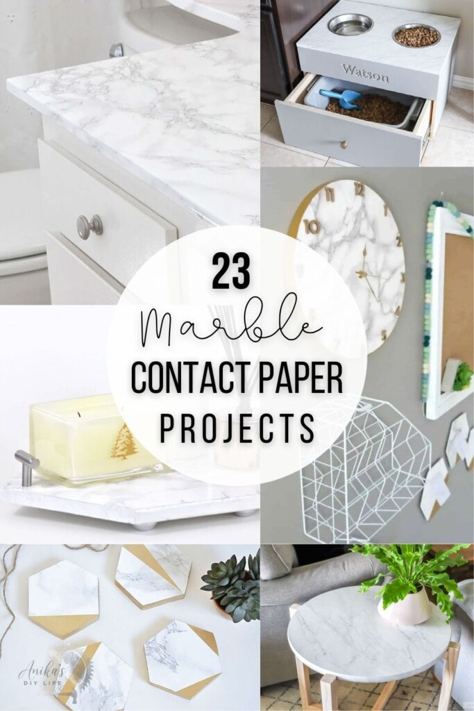 collage of projects using marble contact paper with text overlay