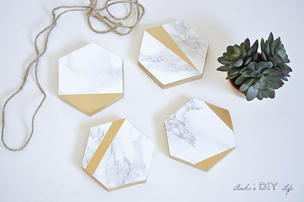 DIY coasters with marble contact paper