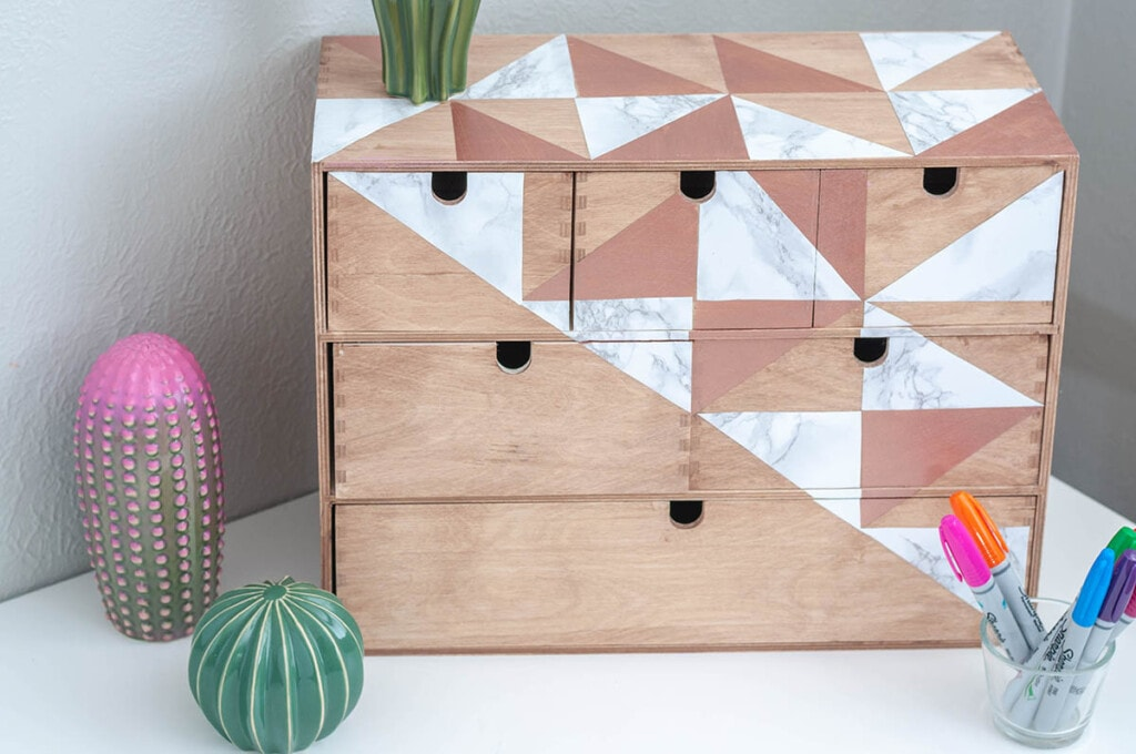 Ikea Moppe made over with paint and marble contact paper