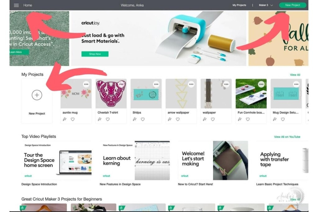 screenshot of how to open a canvas in Cricut Design Space