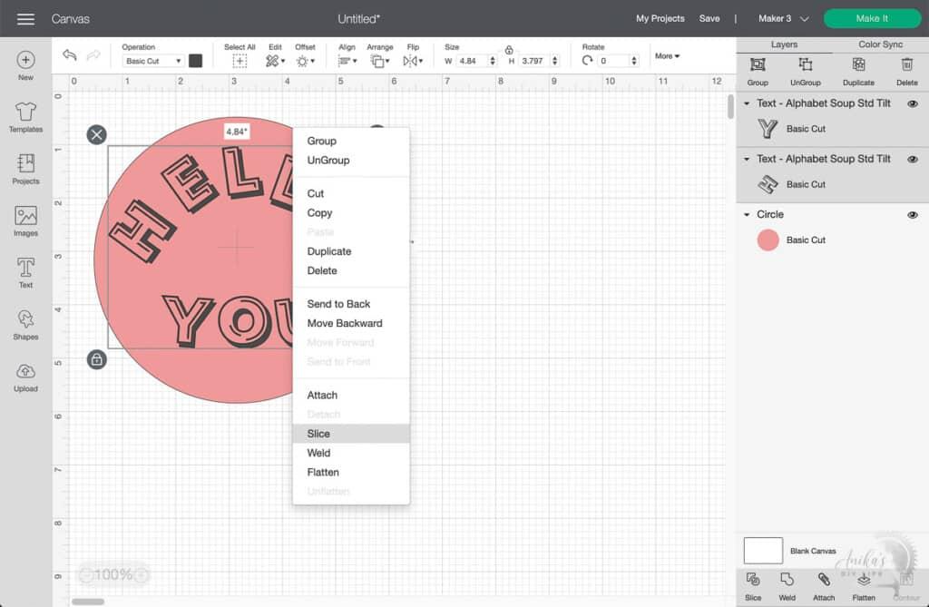 screenshot of Cricut Design Space with right click menu open