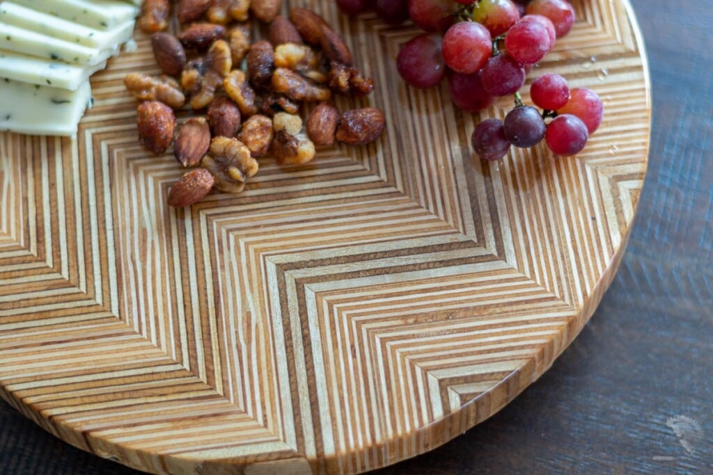 Close up of patterned plywood lazy Susan