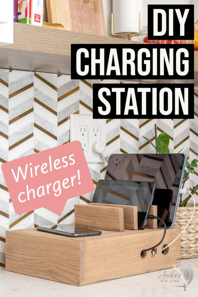 Wooden device charging station on the kitchen counter with devices charging with cords coming from the box . The entire image has text overlay