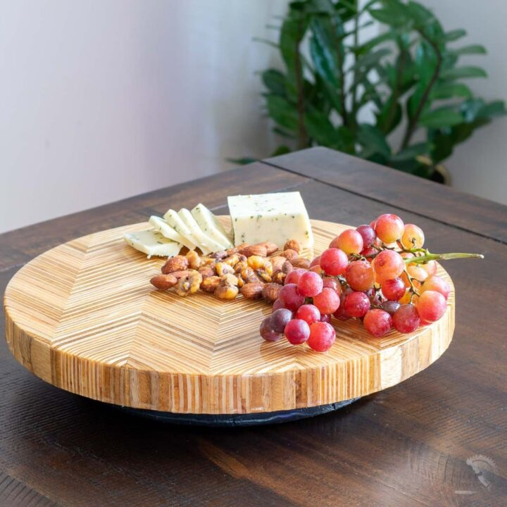 Learn how to make a DIY Lazy Susan with this step-by-step tutorial and video. We use patterned plywood to take it up a notch!