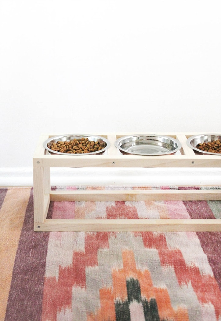 wood pet bowl stand with three bowls