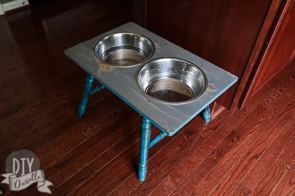 raised dog bowl stand with upcycled legs