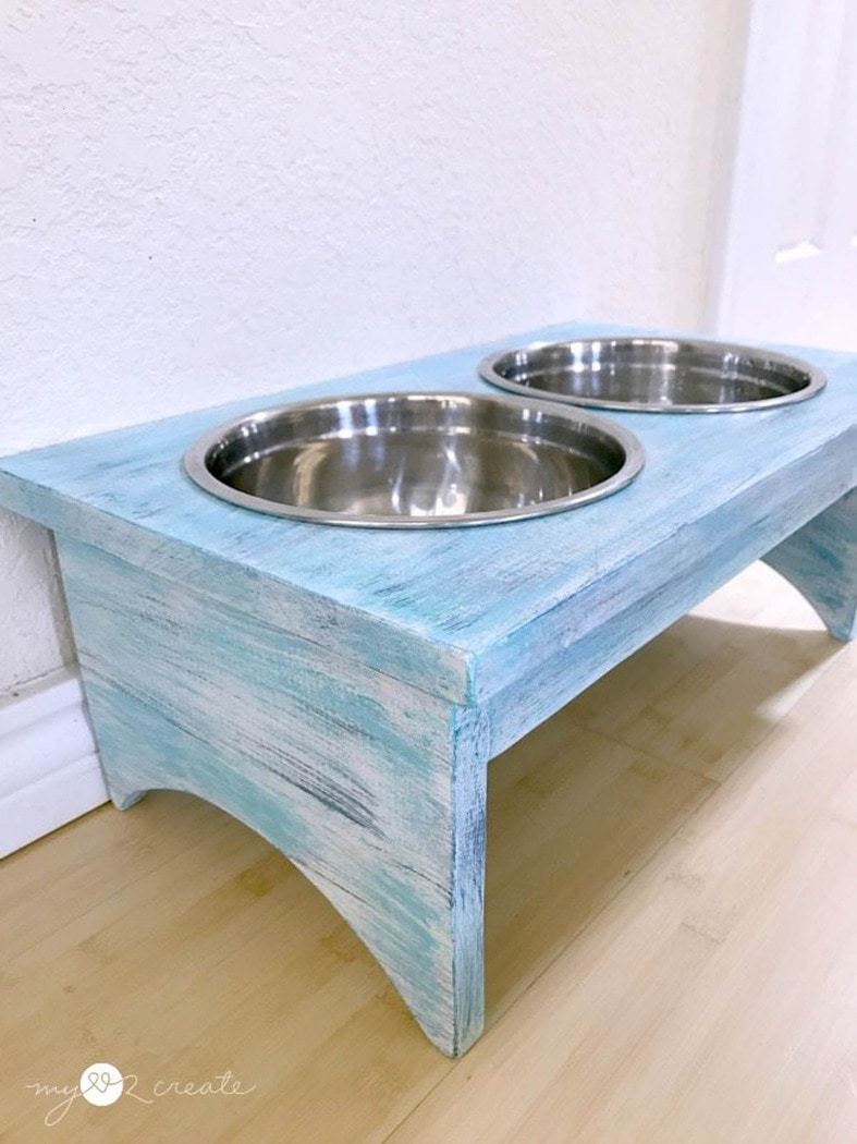 blue distressed finish dog bowl stand with stainless steel bowls
