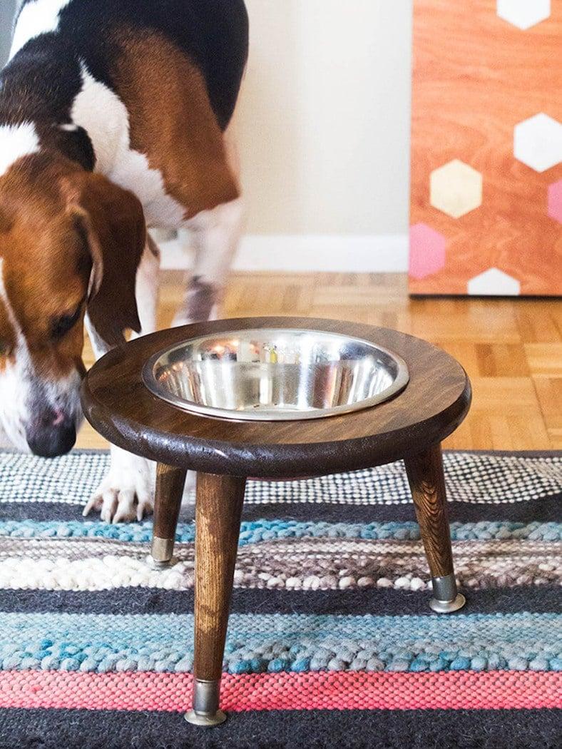 round single bowl dog food stand