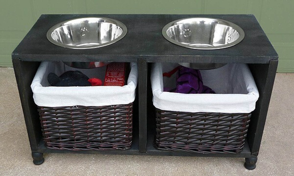 dog bowl stand with storage underneath