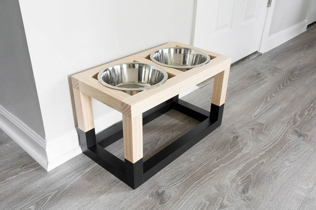 wood dog bowl stand with black painted base