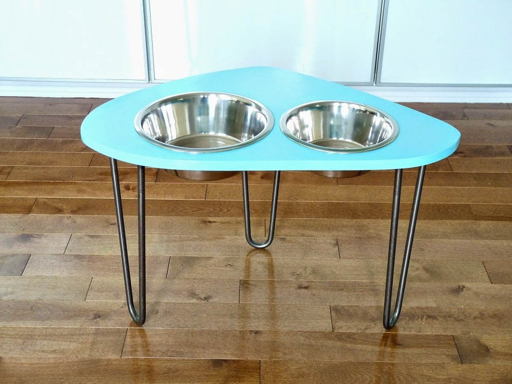 teal raised dog bowl feeder with hairpin legs