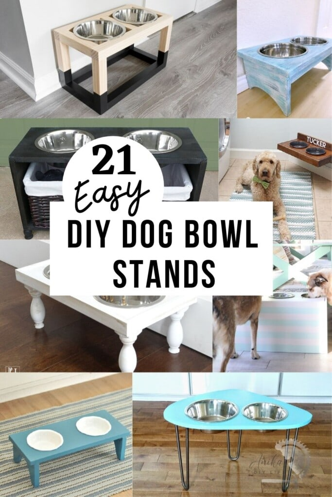 collage of DIY dog bowl stand ideas with text overlay