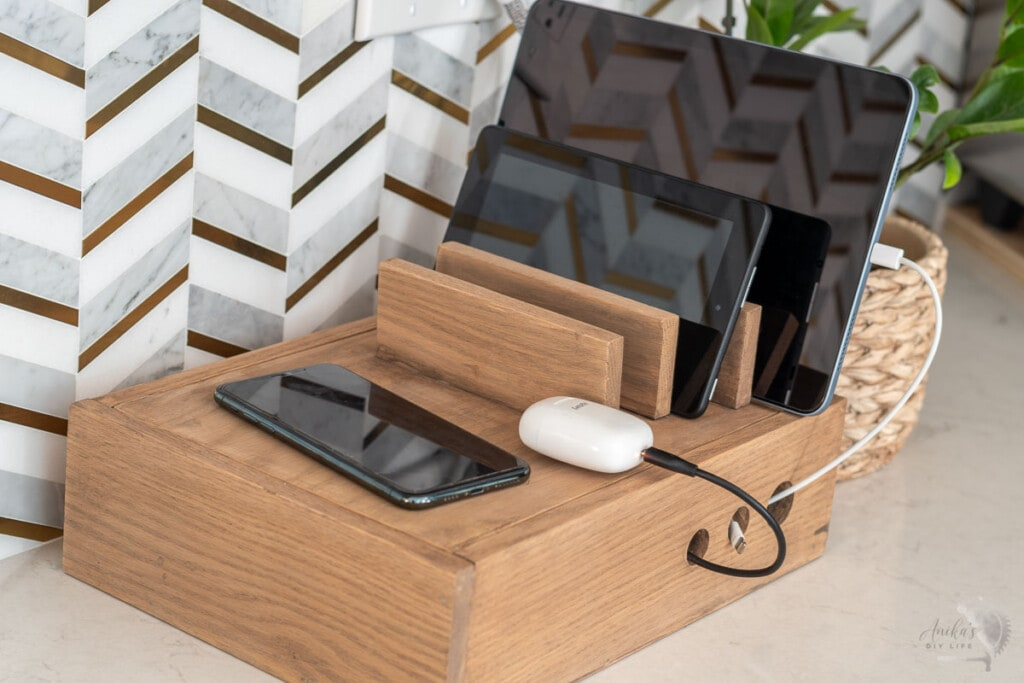 wooden charging station with wireless charging and  devices charging.
