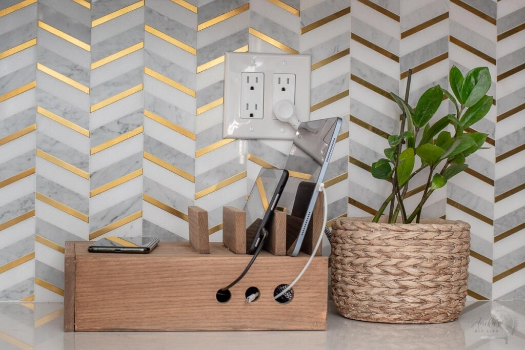 side view of wooden charging station