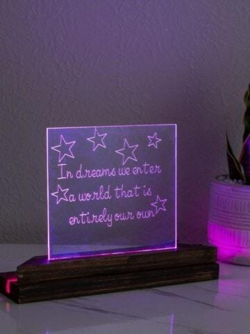 image of engraved acrylic led night light