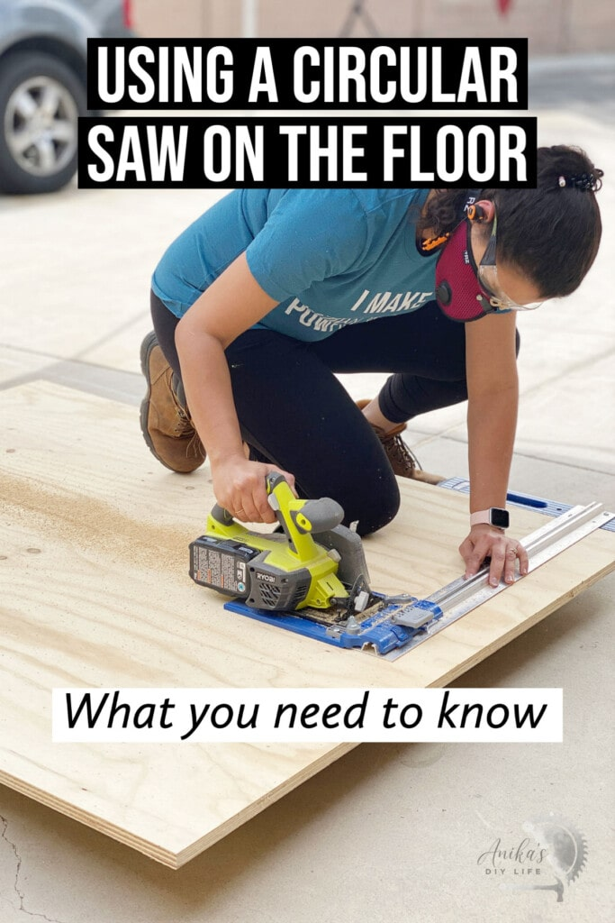 Woman cutting plywood on floor with circular saw with text overlay