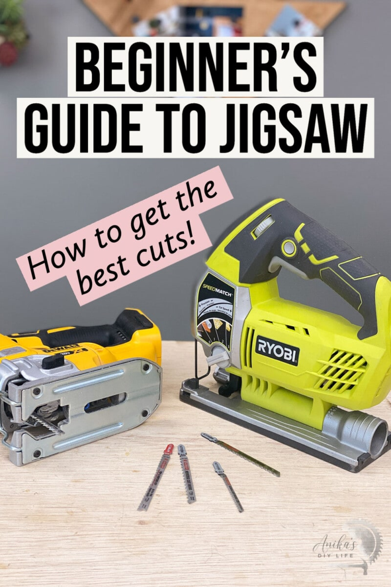 Jigsaws and jigsaw blades on workbench with text overlay